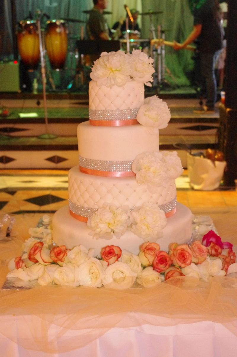 4 Tier Wedding Cake with flowers and bling